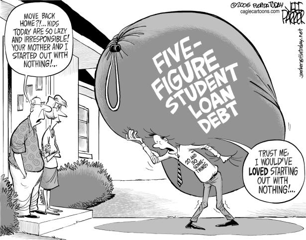 Hasil gambar untuk student loan editorial cartoon